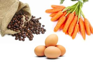 Zanahoria, huevo y café