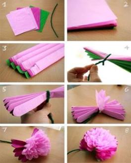 Haciendo flor de papel